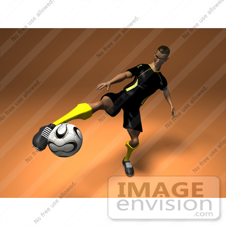 #61197 Royalty-Free (RF) Illustration Of A 3d Soccer Player Kicking A Soccer Ball - Version 3 by Julos