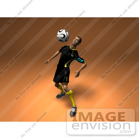 #61198 Royalty-Free (RF) Illustration Of A 3d Soccer Player Bouncing A Ball Off Of His Chest - Version 1 by Julos