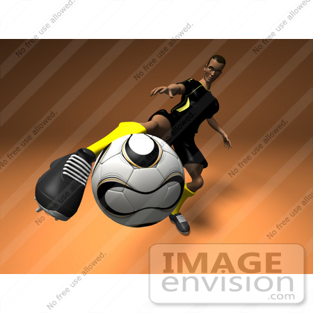 #61199 Royalty-Free (RF) Illustration Of A 3d Soccer Player Kicking A Soccer Ball - Version 1 by Julos