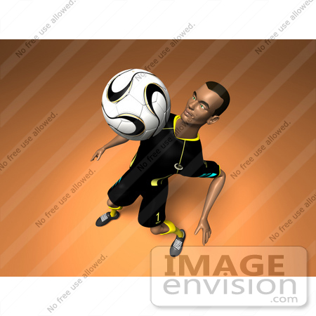 #61200 Royalty-Free (RF) Illustration Of A 3d Soccer Player Bouncing A Ball Off Of His Chest - Version 12 by Julos