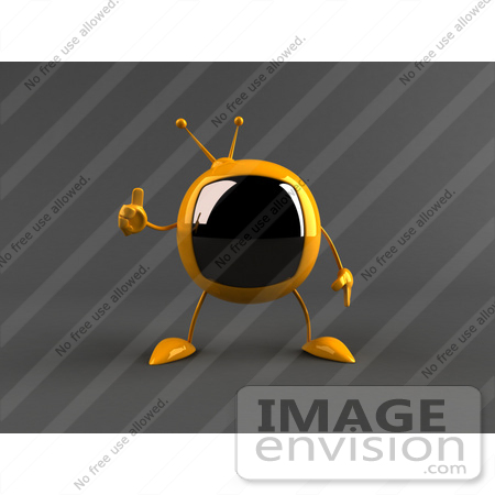 #61202 Royalty-Free (RF) Illustration Of A 3d Yellow Square TV Character Giving The Thumbs Up - Version 2 by Julos