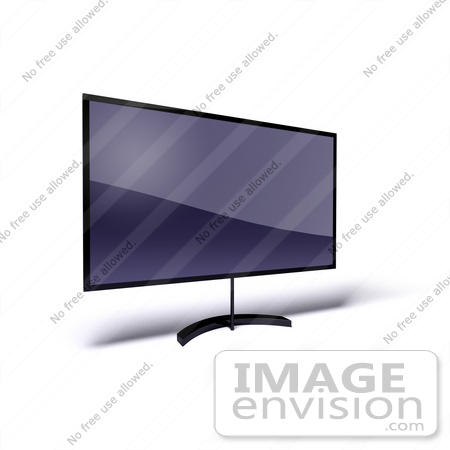 #61208 Royalty-Free (RF) Illustration Of A 3d LCD Flat Panel HDTV On A Raised Mount - Version 10 by Julos