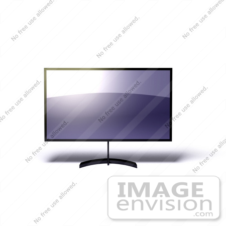 #61210 Royalty-Free (RF) Illustration Of A 3d LCD Flat Panel HDTV On A Raised Mount - Version 6 by Julos