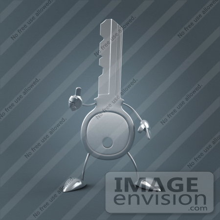 #61212 Royalty-Free (RF) Illustration Of A 3d Key Character Holding His Thumb Up by Julos
