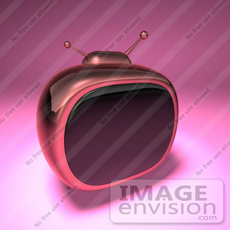#61224 Royalty-Free (RF) Illustration Of A 3d Pink Retro TV - Version 3 by Julos