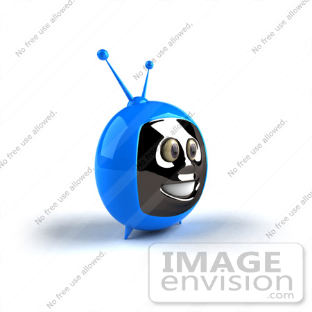 #61226 Royalty-Free (RF) Illustration Of A 3d Blue Smiling Television Mascot - Version 3 by Julos