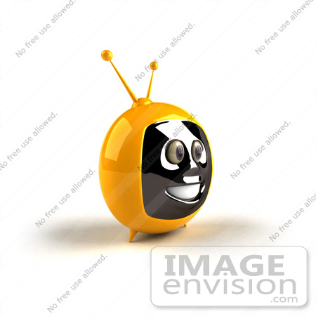 #61229 Royalty-Free (RF) Illustration Of A 3d Yellow Smiling Television Mascot - Version 3 by Julos