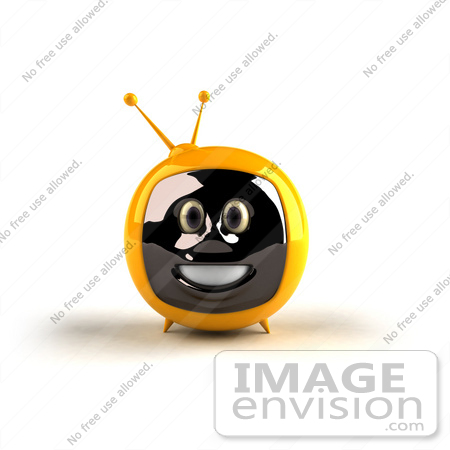 #61230 Royalty-Free (RF) Illustration Of A 3d Yellow Smiling Television Mascot - Version 1 by Julos