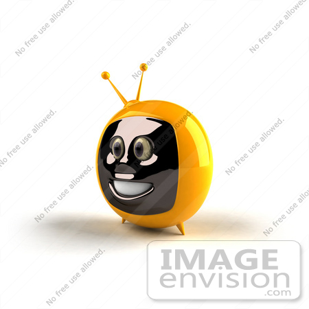 #61231 Royalty-Free (RF) Illustration Of A 3d Yellow Smiling Television Mascot - Version 2 by Julos