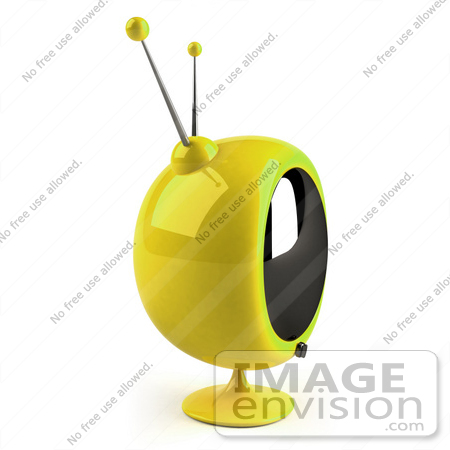#61233 Royalty-Free (RF) Illustration Of A 3d Yellow Round Retro TV - Version 6 by Julos
