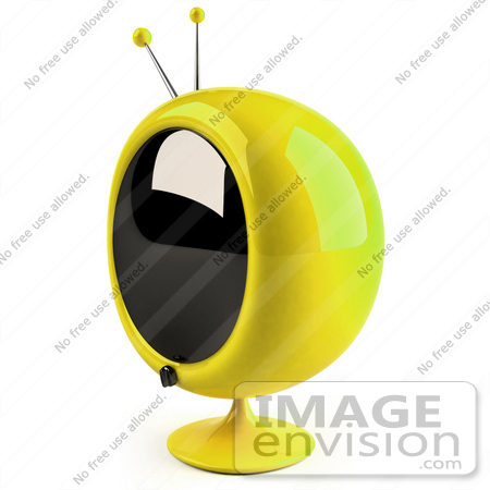 #61234 Royalty-Free (RF) Illustration Of A 3d Yellow Round Retro Television - Version 8 by Julos