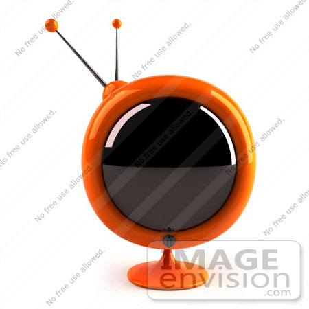 #61235 Royalty-Free (RF) Illustration Of A 3d Orange Round Retro TV - Version 2 by Julos