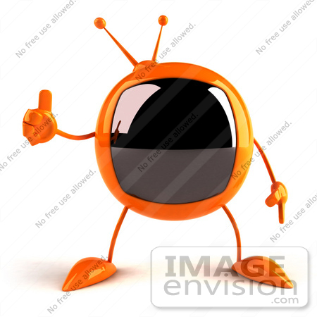 #61236 Royalty-Free (RF) Illustration Of A 3d Orange Square Tele Mascot Giving The Thumbs Up by Julos