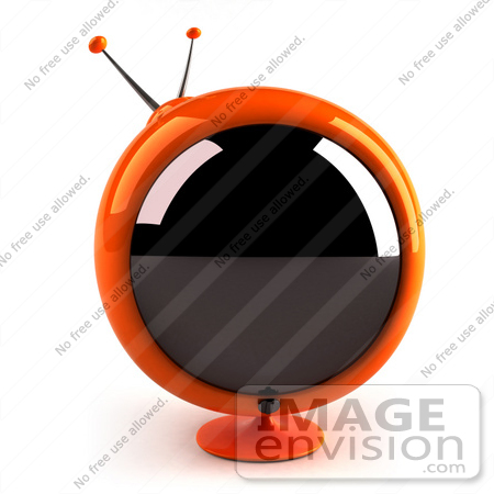 #61237 Royalty-Free (RF) Illustration Of A 3d Orange Round Retro Television - Version 1 by Julos