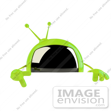 #61238 Royalty-Free (RF) Illustration Of A 3d Green Square TV Mascot Pointing Down And Standing Behind A Blank Sign by Julos