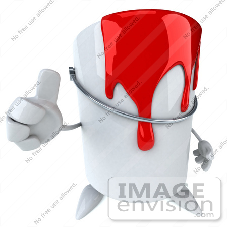 #61247 Royalty-Free (RF) Illustration Of A 3d Dripping Paint Can Character Giving The Thumbs Up by Julos