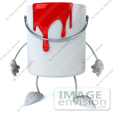 #61248 Royalty-Free (RF) Illustration Of A 3d Dripping Paint Can Character Facing Front by Julos
