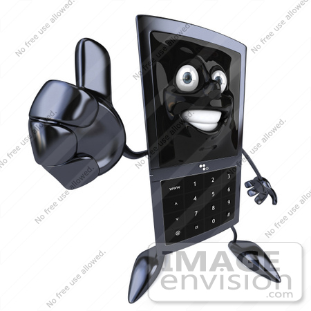 #61255 Royalty-Free (RF) Illustration Of A Slim 3d Cellular Phone Character Holding A Thumb Up by Julos