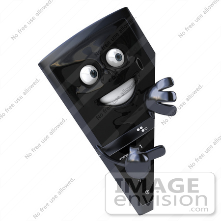 #61256 Royalty-Free (RF) Illustration Of A Slim 3d Cellular Phone Character Looking Around A Sign by Julos