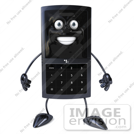 #61257 Royalty-Free (RF) Illustration Of A Slim 3d Cellular Phone Character Facing Front by Julos