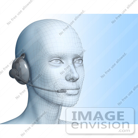 #61258 Royalty-Free (RF) Illustration Of A 3d Customer Service Representative Wearing A Headset - Version 1 by Julos