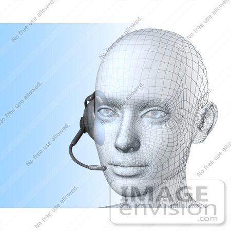 #61259 Royalty-Free (RF) Illustration Of A 3d Customer Service Representative Wearing A Headset - Version 3 by Julos