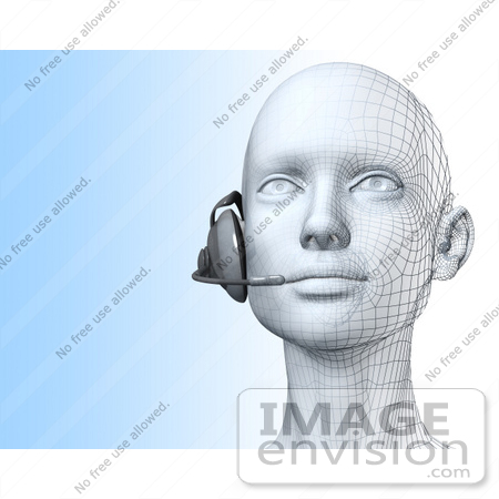 #61261 Royalty-Free (RF) Illustration Of A 3d Customer Service Representative Wearing A Headset - Version 2 by Julos