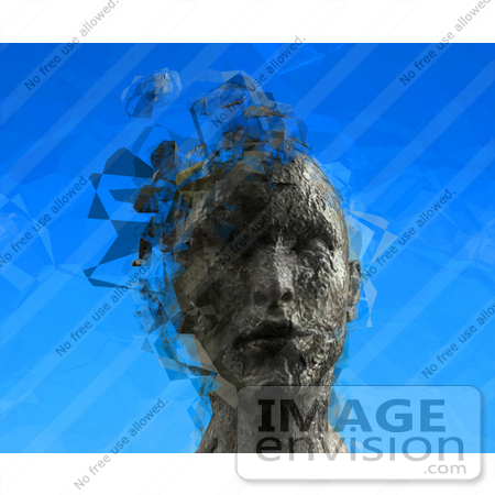 #61271 Royalty-Free (RF) Illustration Of A 3d Female Head With Floating Particles - Version 3 by Julos