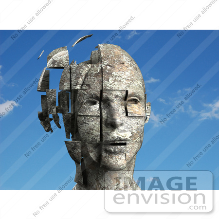 #61273 Royalty-Free (RF) Illustration Of A 3d Female Head With Floating Particles - Version 1 by Julos