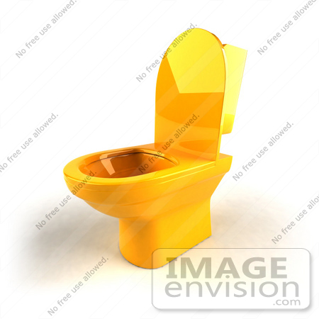 #61274 Royalty-Free (RF) Illustration Of A 3d Yellow Toilet With The Seat Up - Version 2 by Julos