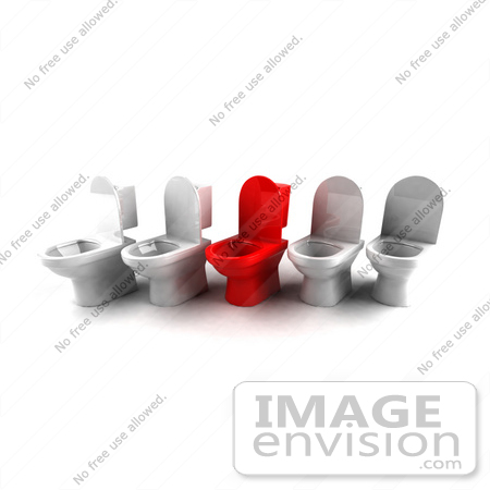 #61277 Royalty-Free (RF) Illustration Of A 3d Red Toilet Standing Out In A Line Of White Toilets by Julos