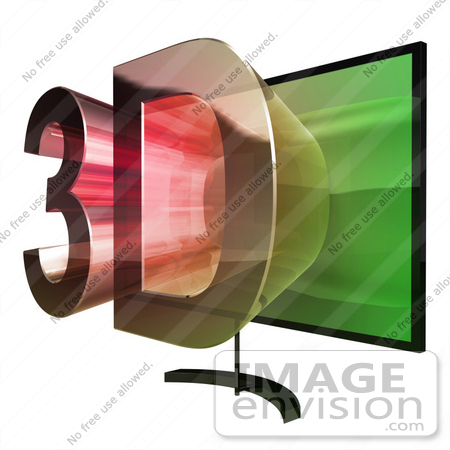 #61279 Royalty-Free (RF) Illustration Of A 3D TVWith 3d Emerging From The Screen - Version 4 by Julos