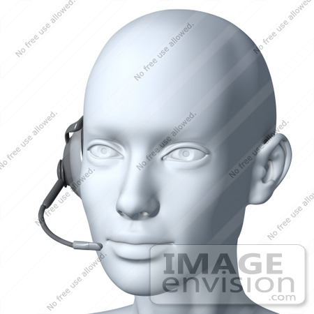 #61280 Royalty-Free (RF) Illustration Of A 3d Customer Service Rep Wearing A Headset - Version 7 by Julos