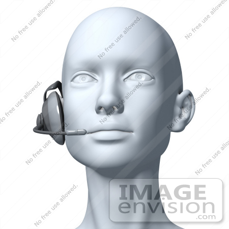 #61281 Royalty-Free (RF) Illustration Of A 3d Customer Service Rep Wearing A Headset - Version 6 by Julos