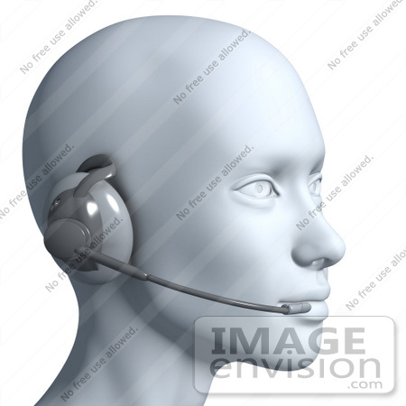#61282 Royalty-Free (RF) Illustration Of A 3d Customer Service Rep Wearing A Headset - Version 8 by Julos