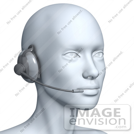 #61283 Royalty-Free (RF) Illustration Of A 3d Customer Service Rep Wearing A Headset - Version 5 by Julos