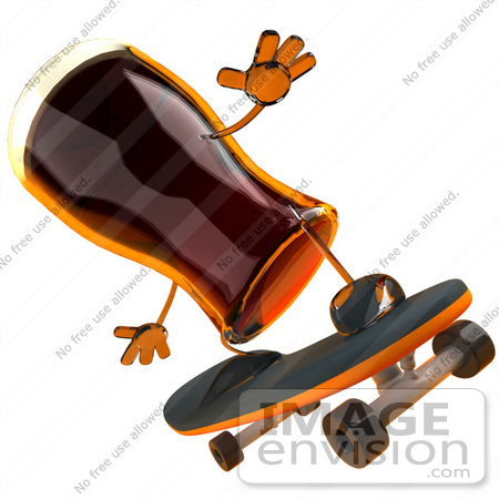 #61284 Royalty-Free (RF) Illustration Of A 3d Root Beer Character Skateboarding - Version 4 by Julos