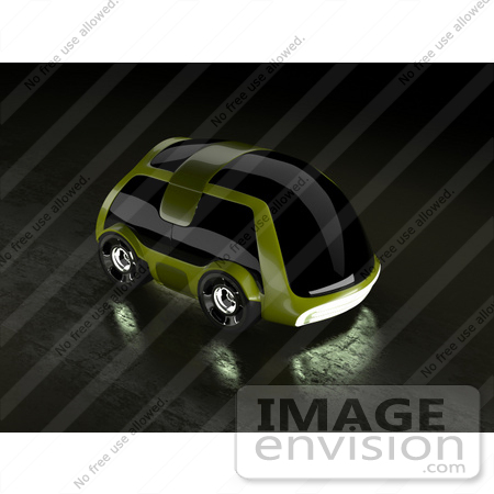 #61287 Royalty-Free (RF) Illustration Of A 3d Futuristic Green Concept Car With Tinted Windows - Version 2 by Julos
