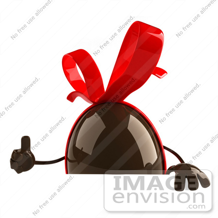 #61288 Royalty-Free (RF) Illustration Of A 3d Chocolate Easter Egg Character Giving The Thumb Up And Holding A Sign by Julos