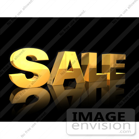 #61290 Royalty-Free (RF) Illustration Of A 3d Golden Sale Text Reflecting On Blac by Julos