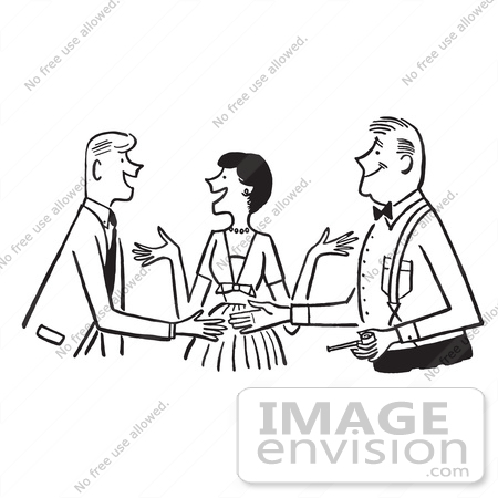 Cartoon Of A Sketch Of A Lady Politely Introducing Two Men, In ...