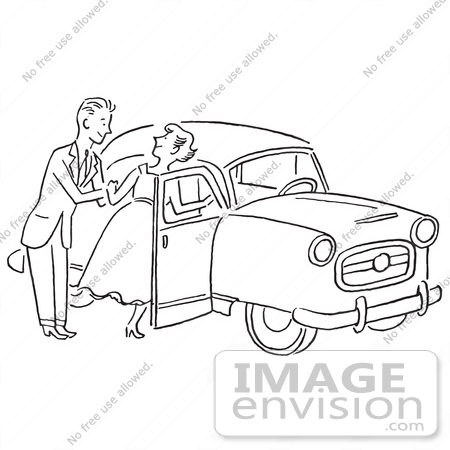 #61299 Cartoon Of A Sketch Of A Gentleman Helping A Lady Into A Car, In Black And White - Royalty Free Vector Clipart by JVPD