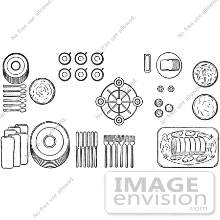 #61303 Cartoon Of Proper Place Settings Of Of A Buffet Table, In Black And White - Royalty Free Vector Clipart by JVPD