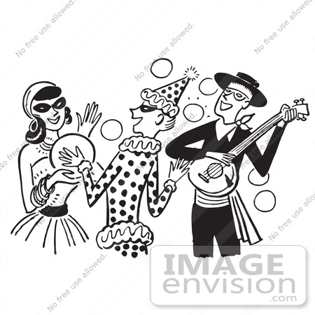 Cartoon Of A Banjo Player Gypsy And Clown At A Halloween Costume Party In Black And White Royalty Free Vector Clipart 61316 By Jvpd Royalty Free Stock Cliparts