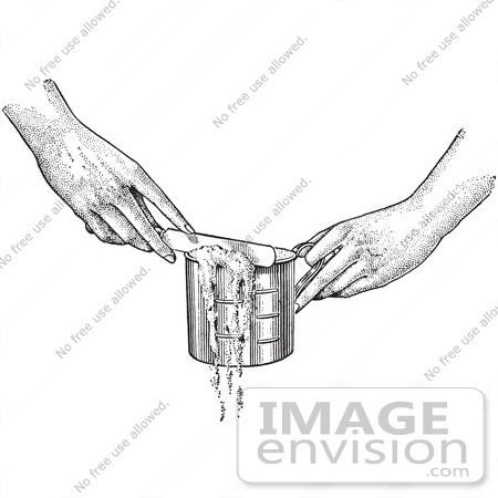 #61321 Retro Clipart Of Hands Leveling Off A Measuring Cup With A Knife In Black And White - Royalty Free Vector Illustration by JVPD