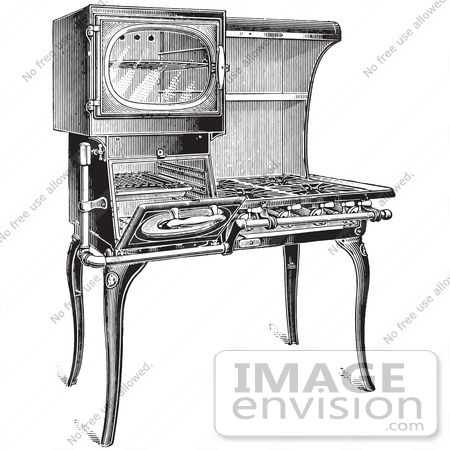 stove clipart black and white. 61324 retro clipart of a vintage antique gas stove in black and white royalty