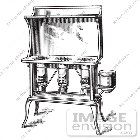 #61327 Retro Clipart Of A Vintage Antique Kerosene Stove In Black And White - Royalty Free Vector Illustration by JVPD