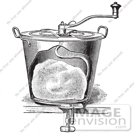 #61333 Retro Clipart Of A Vintage Antique Bread Mixer In Black And White - Royalty Free Vector Illustration by JVPD