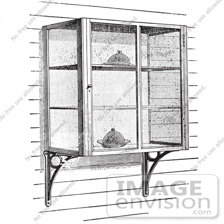 #61336 Retro Clipart Of Vintage Screened In Cellar Shelves With Food In Black And White - Royalty Free Vector Illustration by JVPD