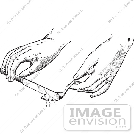 #61338 Retro Clipart Of Hands Leveling Off An Ingredient In A Spoon With A Knife In Black And White - Royalty Free Vector Illustration by JVPD
